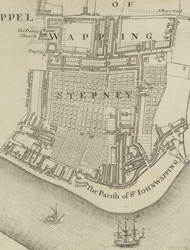 A New & Exact Plan of ye City of LONDON, detail showing Wapping
